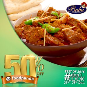 foodpanda, #Don'tCook, Best of 2016 23rd-25th Dec, Islamabad, babu