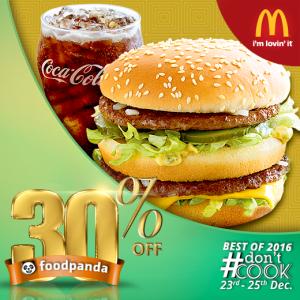 foodpanda, #Don'tCook, Best of 2016 23rd-25th Dec, Islamabad, McDonalds